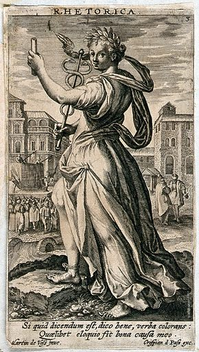 A woman standing in a market place, a scroll in her left hand, a caduceus in her right, while to her right a play is performed, to her left two men are debating; representing Rhetoric. Engraving after M de Vos. The caduceus is the instrument with which Hermes guides the dead to the underworld. It stands here for the Hermetic art of rhetoric or persuasion. Contributors: Maarten de Vos (1532–1603). Work ID: pqjtyt2e.