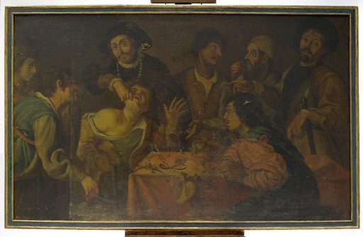 A troupe of travelling performers including a toothdrawer. Oil painting after Theodor Rombouts. Contributors: Theodoor Rombouts (1597–1637). Work ID: kkzvqj59.