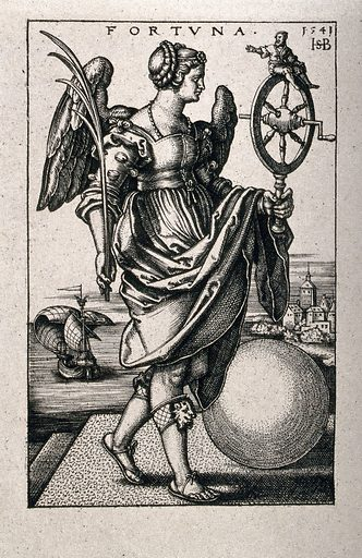 A winged woman holding a palm branch in her right hand and a spinning wheel with a small man perched on top in her left, walks past a globe, while a ship with billowing sails is passing by in the background; representing fortune. Heliogravure after S Beham, 1541. Contributors: Hans Sebald Beham (1500–1550). Work ID: ycvswrhx.