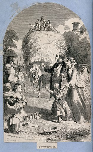 Farm workers celebrate the bringing in of the harvest, and a woman offers drinks to the landlord's family or to city visitors; representing Autumn. Wood engraving by TH Wilson. Created between 1800 and 1899. Agricultural laborers. Harvesting time. Contributors: Thomas Harrington Wilson (active 1842–1886). Work ID: v5a4ashq.