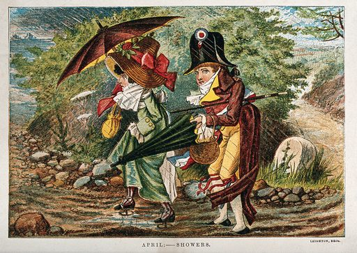 A cockaded Frenchman and his female companion are struggling with their umbrellas through a rain shower; representing the month April. Chromolithograph. Rain and rainfall. Work ID: usczpwuj.