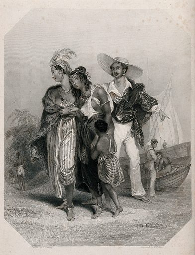 """Two black women and a boy on Lake Chad are about to be led away into slavery by a Spaniard. Stipple engraving by E Finden, 1843, after Perring. They are described as """"Two sisters of the tribe of Shouaa"""". They look at a black man with a rifle who turns his back on them: he is the slaver who has captured them and delivered them to the Spaniard. In the story they are rescued by the husband of one of them who arives with a fighting force and punishes the black slaver, while the Spanish slave trader escapes on to Lake Chad in his boat. The author cites as one of her sources Dixon Denham, Narrative of travels and discoveries in Northern and Central Africa (1826). Created 1843. Slavery. Slave traders. Lake. Chad. Contributors: William. Perring; Edward Francis Finden (1791–1857). Work ID: cxwvu98r."""