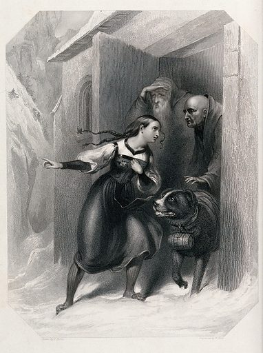 Convent of St Bernard, Switzerland: a distressed woman in Swiss peasant costume is standing in the snow outside a monastery and pleads to two monks pointing in the distance, the monks are sending out their St Bernard dog for rescue. Stipple engraving by F Stone after W Holl. Created 1843. Saint Bernard dog. Great Saint Bernard Pass (Italy and Switzerland). Contributors: William Holl (1807–1871); Frank Stone (1800–1859). Work ID: dmq534jd.