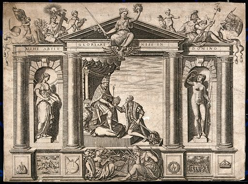 A triumphal arch decorated with Papal, Christian, Imperial and Habsburgian emblems: in the centre Philip II of Spain, surrounded by emblems of peace, justice and plenty, receives the crown from his father, Charles V; representing the good and Christian reign of Philip II. Engraving by N Nelli. Created 1566. Charles V, Holy Roman Emperor (1500–1558). Philip II, King of Spain (1527–1598). Contributors: Nicolò Nelli (1530–1572). Work ID: zjuw9byj.