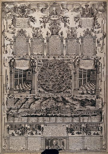 Top, five neoclassical monuments surmounted by putti holding scrolls and wreaths of flowers; centre, map of the various villages around Plasencia and aerial view of the city; bottom, various interior scenes. Engraving, ca 1770. Created 1770?. Work ID: tw9j9g8t.