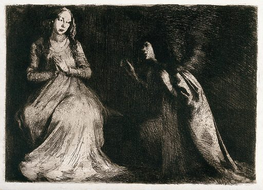 The annunciation to the Virgin. Etching. Blessed Virgin Mary, Saint Annunciation. Work ID: dxz6tywc.