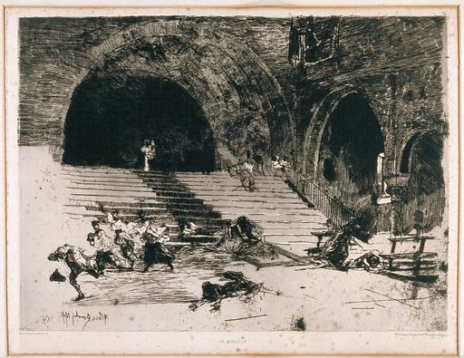 A miracle; the raising of the dead. Etching by M Bianchi, 1894. Created 1894. Contributors: Mosé di Giosué Bianchi (1840–1904). Work ID: rgp6k8xn.