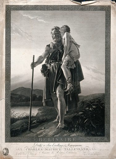 Belisarius. Engraving by A Desnoyers, 1806, after F Gerard. Created 1806?. Blind. Belisarius (approximately 505–565). Contributors: François-Pascal-Simon Gérard, baron (1770–1837); Auguste-Gaspard-Louis Desnoyers, Baron (1779–1857); Talleyrand-Périgord, Charles Maurice de, prince de Bénévent (1754–1838). Work ID: kwyvh7p3.