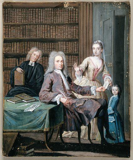 Jean Misaubin and his family. Gouache painting by Joseph Goupy. PORTRAIT. JOHN MISAUBIN. IC. Work ID: ypgayc3m.