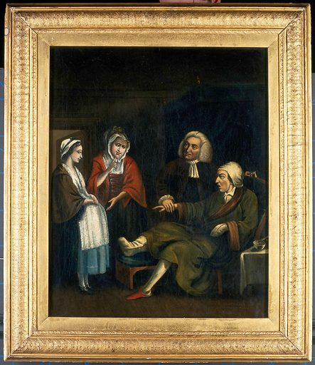 A physician (William Cullen?) taking the pulse of a gouty bachelor as he receives a paternity claim. Oil painting formerly attributed to John Kay. Work ID: um9m44zv.
