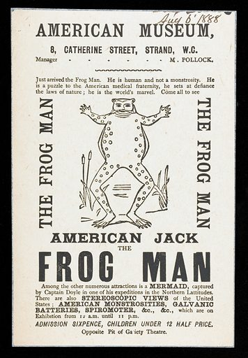 """American Jack: the Frog Man…: American Museum, 8 Catherine Street, Strand, WC: manager: M Pollock. Handbill advertising the arrival and exhibition of American Jack, the Frog Man, """"the world's marvel"""". The leaflet is deliberately vague about what a Frog Man consists of, despite an illustration showing him as an actual frog with a human face. Printed in black on pale yellow paper. A mermaid is also one of the attractions to be seen as well as stereoscopic views of the United States, galvanic batteries and a spirometer. Work ID: edzbq5vm."""