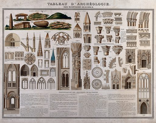 Celtic, Roman and Gothic architectural and decorative elements. Colour engraving by Langevin, ca 1880. Created 1880?. Contributors: Langevin. Work ID: wteatqqb.