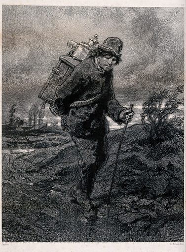 An old man with a magic lantern (slide projector) on his back is walking along a country path. Lithograph after Gavarni, ca 1880. Created 1880?. Contributors: Gavarni. Work ID: s6smbpjv.