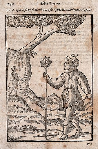 A man and his assistant holding a rope to survey a field. Woodcut, ca 1600. Work ID: wectjxcb.