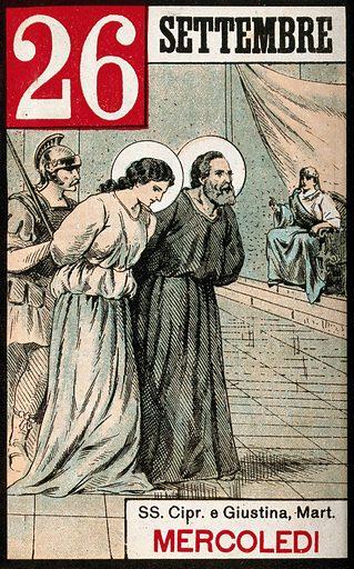 Saint Cyprian and Saint Justina. Colour photogravure, 1898. Saint Cyprian (-304). Justina, of Padua, Saint (-304). Work ID: ftan4dup.