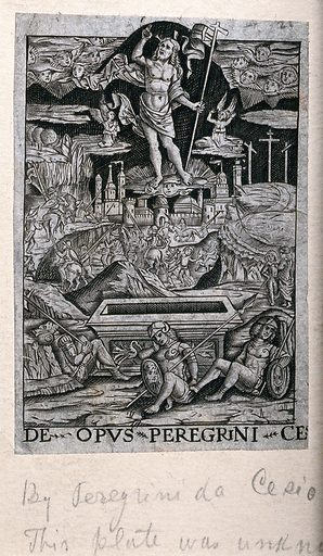The ascension of Christ. Engraving by Peregrino da Cesena. Contributors: Peregrino da Cesena. Work ID: rh4sxrf5.