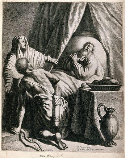 Jacob blessing Isaac. Etching by JJ van Vliet after J Lievens. Contributors: Jan Lievens (1607–1674); Jan Joris van der Vliet (approximately 1610–). Work ID: f8fq5mxx.