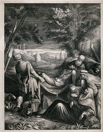 The deposition of the body of Christ. Engraving by J Falck, 1655/1660, after J Bassano. Created between 1660 and 1671. Jesus Christ Burial. Contributors: Jacopo Bassano (approximately 1518–1592); Jeremiasz Falck (approximately 1610–1677). Work ID: zre334hp.