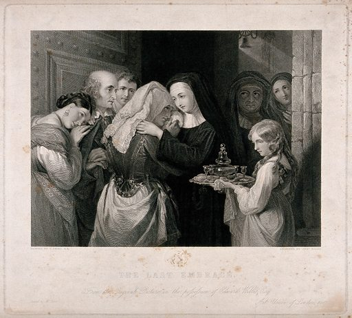 A woman entering a nunnery as a novice and saying goodbye to her family. Engraving by C Rolls after T Uwins. Created 1847. Contributors: Thomas Uwins (1782–1857). Work ID: v5q4chzw.