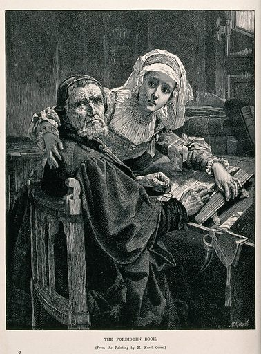 """A Protestant man and woman interrupted while reading the forbidden Bible. Wood engraving by M Klinkicht after K Ooms. """"His [ie Ooms's] career received a boost from the success of his 1876 history/genre painting entitled The prohibited reading (Royal Museums of Fine Arts of Belgium). This painting depicts a historical scene of an old man and a young woman who are huddled over a bible. The pair is gazing in apparent concern or alarm over the shoulder of the old man towards something outside of the picture. The scene is likely set in the 16th or 17th century when Protestants were being prosecuted, amongst others, because of their practice of reading the Bible in the vernacular, a practice prohibited by the Catholic Church at the time. One of the reasons of the success of Ooms' picture was that the situation of the small minority of Protestants in Catholic Belgium of the late 19th century was seen as having parallels with their situation in the 16th century. The original of the painting was immediately acquired by the Belgian state. Ooms made in 1885 a reduced copy of the work, probably for his own use. The composition was also copied by other painters for display in Protestant religious venues and homes and was also circulated through prints. The composition shows Ooms' principal interest in portrait painting as the faces of the two figures are in the centre of the composition and are clearly painted in more vivid colours and detail."""" – Wikipedia (English) accessed 28 November 2019. Prohibited books. Protestants. Belgium. Contributors: Karel Ooms (1845–1900); M Klinkicht. Work ID: j8ds3vxj."""