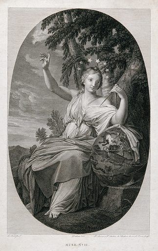 Urania. Engraving by PLH Laurent and P Audouin after Duchemin after E le Sueur. Urania (Greek deity). Contributors: Le Sueur, Eustache (1616–1655); Duchemin.; Pierre Laurent (1739–1809); Pierre Audouin (1768–1822). Work ID: uhp9puaf.