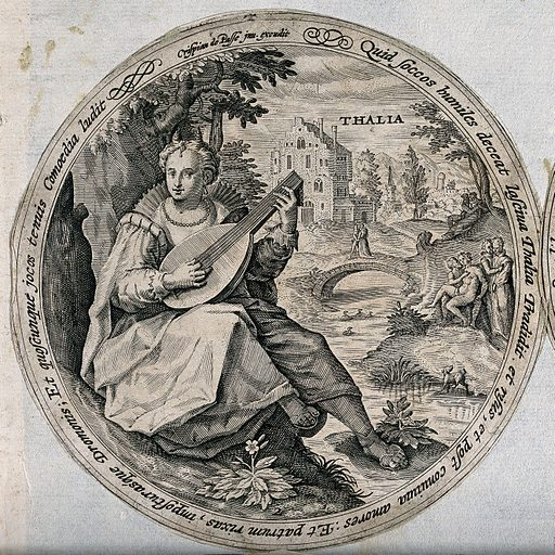 Thalia. Engraving by C de Passe. Contributors: Crispijn van de Passe (approximately 1565–1637). Work ID: bbhkvb8b.