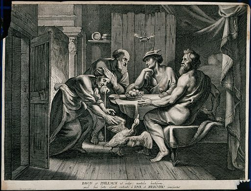 Philemon and Baucis providing food and shelter for Jupiter [Zeus] and Mars [Ares] who are disguised as travellers. Engraving after Sir PP Rubens. Contributors: Peter Paul Rubens (1577–1640). Work ID: d7hke7bp.
