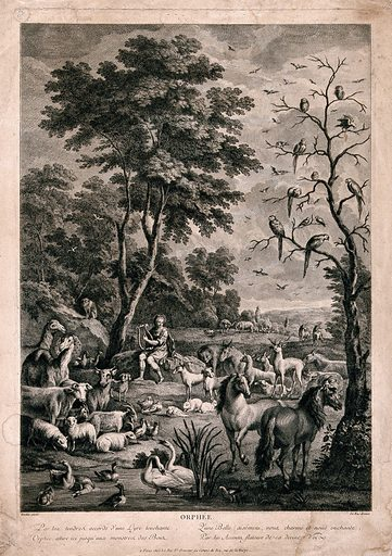 Orpheus charming the animals with music. Engraving by JP Le Bas after A Hondius. Created 1700–1799. Voice. Influence of. Music. Orpheus (Greek mythological character). Contributors: Abraham Hondius (1625–1695); Le Bas, Jacques-Philippe (1707–1783). Work ID: yhpubujb.