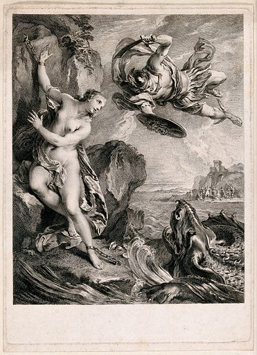 Perseus rescuing Andromeda from a sea-monster. Engraving by L Cars, 1728, after F Lemoine. Created 1728. Perseus (Greek mythology). Sea monsters. Princess Andromeda, daughter of Cepheus, King of Ethiopia (Mythological character). Contributors: Le Moyne, François (1688–1737); Laurent Cars (1699–1771). Work ID: pkkcmxkb.