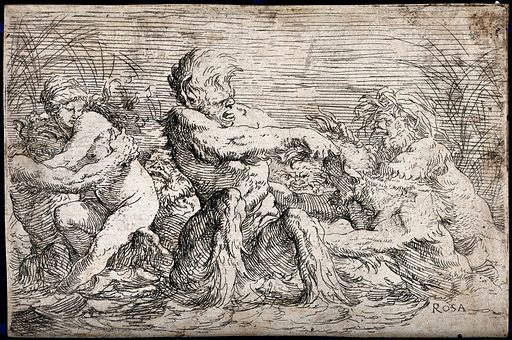 Tritons fighting over a nereid. Etching by S Rosa. Contributors: Salvatore Rosa (1615–1673). Work ID: pph5eps3.