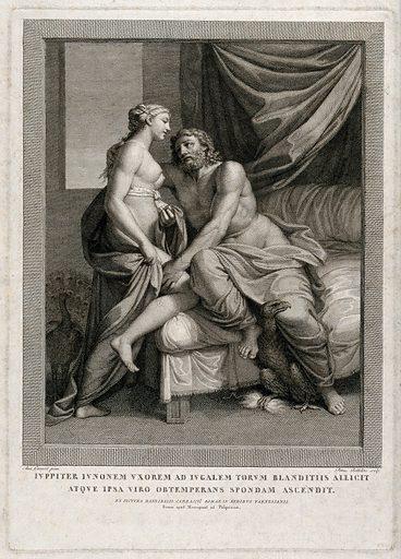 Jupiter [Zeus] and Juno [Hera]. Engraving by P Bettelini after Annibale Carracci. Jupiter (Roman deity). Juno (Roman deity). Contributors: Annibale Carracci (1560–1609); Pietro Bettelini (1763–1829). Work ID: pmm2cdj2.