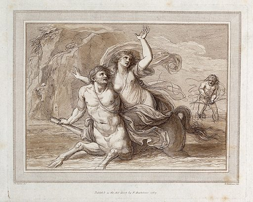 The centaur Nessus carrying off Deianeira. Etching with aquatint by F Bartolozzi after GB Cipriani. Created 1787. In the background is Heracles (Hercules) holding a crossbow. Nessus (Greek mythology). Rape. Deianira (Greek mythological character). Hercules (Roman mythological character). Contributors: Giovanni Battista Cipriani (1727–1785); Francesco Bartolozzi (1727–1815). Work ID: ac2emxwd.