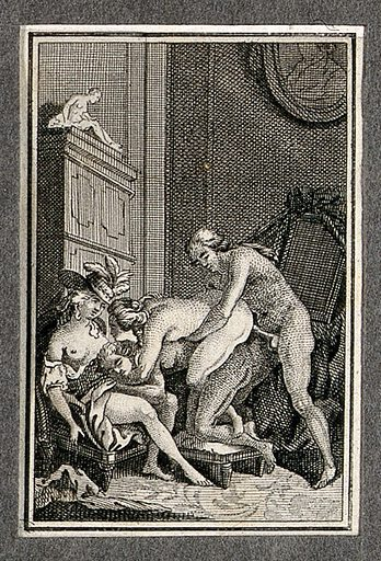 Two men and two women engaged in sexual intercourse; armchair, wardrobe and portrait in the background. Etching, ca 1780. Created 1780?. Work ID: rq6jwjs2.