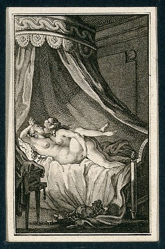 Two women engaged in sexual intercourse in a neoclassical canopied bed. Etching, ca 1780. Created 1780?. Work ID: uu8jraky.