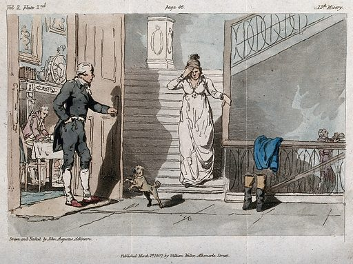 A young woman preceded by a lap-dog is coming down the stairs of a grand house; a man is standing by an open door; servant carrying a tray in the background. Etching by JA Atkinson after himself, 1 March 1807. Created 1 March 1807. Contributors: John Augustus Atkinson (1775–approximately 1833). Work ID: dyv8cpg8.