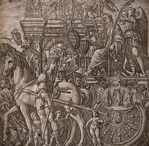 The processional entry of a victorious general into ancient Rome. Chiaroscuro woodcut by Andrea Andreani after Andrea Mantegna. Contributors: Andrea Mantegna (1431–1506); Andrea Andreani (approximately 1560–1623); Bernardo Malpizzi (1553–1623). Work ID: gfce587j.