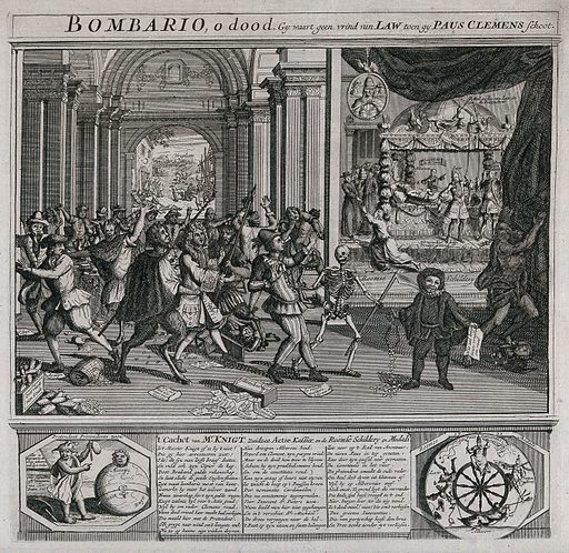 """The burghers of the Dutch Republic are celebrating the death of Pope Clement XI; they are led by Death and devils to a picture showing the dying Clement XI and the new pope, Innocent XIII. Etching. On the left of the poem underneath the print is a jester pointing at a globe with a head, while on the right side Pope Innocent XIII and Alberoni (Giovanni Francesco Alberoni, Pope Clement XI) are attached to a turning wheel The picture on the wall, bearing the legend """"Roomse schildery"""" (Roman painting), ridicules Roman Catholic imagery by replacing sacred insignia with images of cockerels and devils A supporter of the pope is standing helpless in the foreground; money drops out out his purse. He holds a piece of paper with the legend """"Wie zal knigt nouw vragen om raat"""" (Whom shall I ask for advice?). Work ID: cz55yryb."""