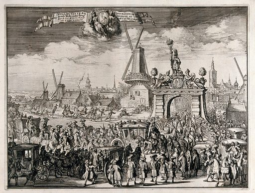 The processional entry of William III into The Hague through the bridge in the Westend. Etching. Hague (Netherlands). Work ID: a8u5mjcy.