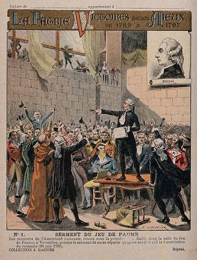 Oath of the Tennis Court: the deputies of the third estate meeting in the tennis court at the Château de Versailles with Bailly presiding, swearing not to disperse until a constitution is assured. Colour lithograph by E Letellier. Contributors: E Letellier. Work ID: nr5d4bqp.