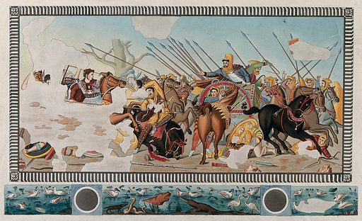 The battle at Issus in 333 BC: Alexander the Great of Macedonia is chasing the fleeing Darius III