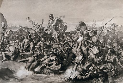 Caesar's first invasion of Britain: Caesar's boat is pulled to the shore while his soldiers fight the resisting indigenous warriors. Lithograph by W Linnell after E Armitage. Contributors: Edward Armitage (1817–1896); William Linnell (1826–). Work ID: qwatf995.