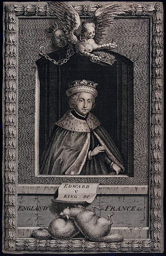 King Edward V; above, a harpy holding a crown above his head; below, two sheep. Engraving by J Hulett, ca 1750. Created 1750. Edward V, King of England (1470–1483). Contributors: James Hulett (-1771). Work ID: av9tcbum.