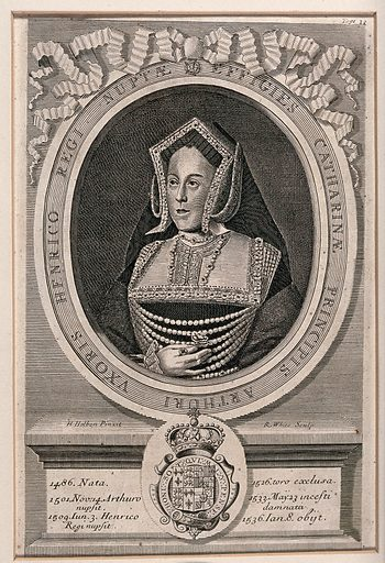 Queen Catherine of Aragon, head and shoulders, in a medallion; below, a coat of arms. Engraving by R White after H Holbein the Younger, ca 1700. Created 1700?. Catharine, of Aragon, Queen, consort of Henry VIII, King of England (1485–1536). Contributors: Hans Holbein (1497–1543); Robert White (1645–1703). Work ID: csz3ezns.