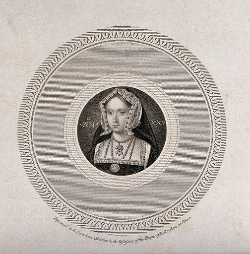 """Jane Seymour. Engraving by R Cooper after H Holbein the younger, 18 –. Head and shoulders, in a medallion, with age """"An(n)o XXV"""" (in her 25th year). Created between 1800 and 1899. Jane Seymour, Queen, consort of Henry VIII, King of England (1509?-1537). Contributors: Hans Holbein (1497–1543); Richard Cooper, the younger (1746–1814). Work ID: zqep3n2s."""