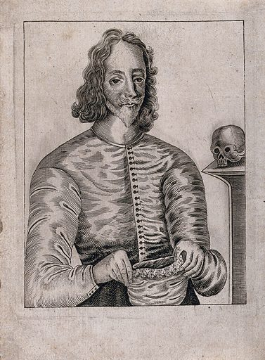 King Charles I holding holding the cap in which he was executed; a skull on pedestal to right. Engraving, ca 1660. Created 1660?. Charles I, King of England (1600–1649). Work ID: jku8m9v6.