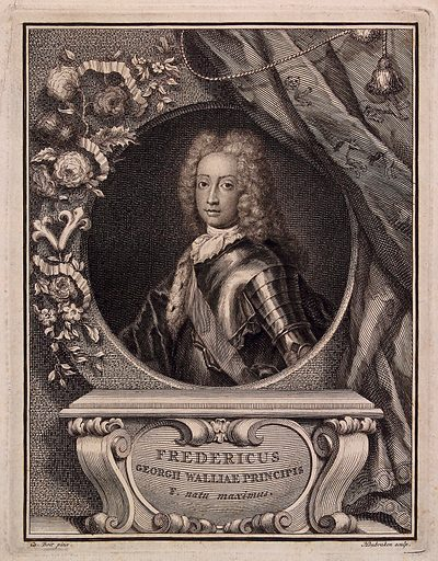 Frederick Prince of Wales. Engraving by J Houbraken after C Boit, ca 1727. Frederick Prince of Wales, head and shoulders; in a frame surrounded by a wreath of flowers. If the lettering is correct in calling Frederick oldest son of George Prince of Wales, the print must date from 1727 or before, as George became King George II in that year. Therefore Frederick (b 1707) is portrayed at the age of not more than 20. Created 1727?. Frederick Louis, Prince of Wales (1707–1751). Contributors: Charles Boit (1662–1727); Jacobus Houbraken (1698–1780). Work ID: mkvfzg3c.