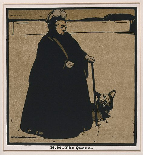 Queen Victoria at the age of seventy eight, holding a walking stick; a dog beside her. Lithograph after W Nicholson, ca 1897. Created 1897?. Contributors: William Nicholson (1872–1949). Work ID: brbvhyfx.