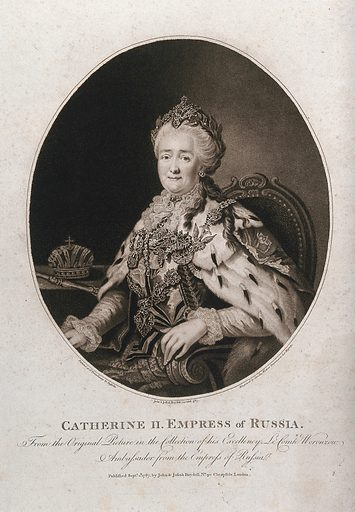 Catherine II in lavish dress, seated in an armchair; crown on a table in the background. Stipple print by C Watson after A Roslin, 1787. Catherine the Great, Empress of Russia from 1762 to 1796. Created 1 Septr. 1787. Catherine II, Empress of Russia (1729–1796). Contributors: Alexander Roslin (1718–1793); Caroline Watson (1760 or 1761–1814). Work ID: s9kz545a.