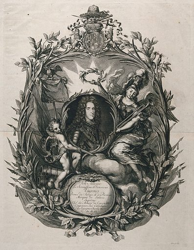 Prince Eugene of Savoy, head and shoulders, in a rococo frame decorated with foliage, a putto and an allegorical figure holding a wreath of laurel. Engraving, 17 –. Created between 1700 and 1799. Eugene, of Savoy, Prince of Savoy (1663–1736). Work ID: sms98e3r.