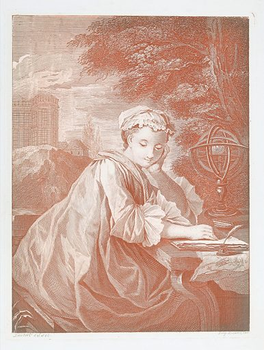 A young woman, seated outdoors, with an armillary sphere or similar instrument, looking pensive. Colour etching by E Jeaurat. Created between 1700 and 1799. Women philosophers. Astronomy – Study and teaching. Armillary spheres. Contributors: Jeaurat. Work ID: yzr7c7vy.